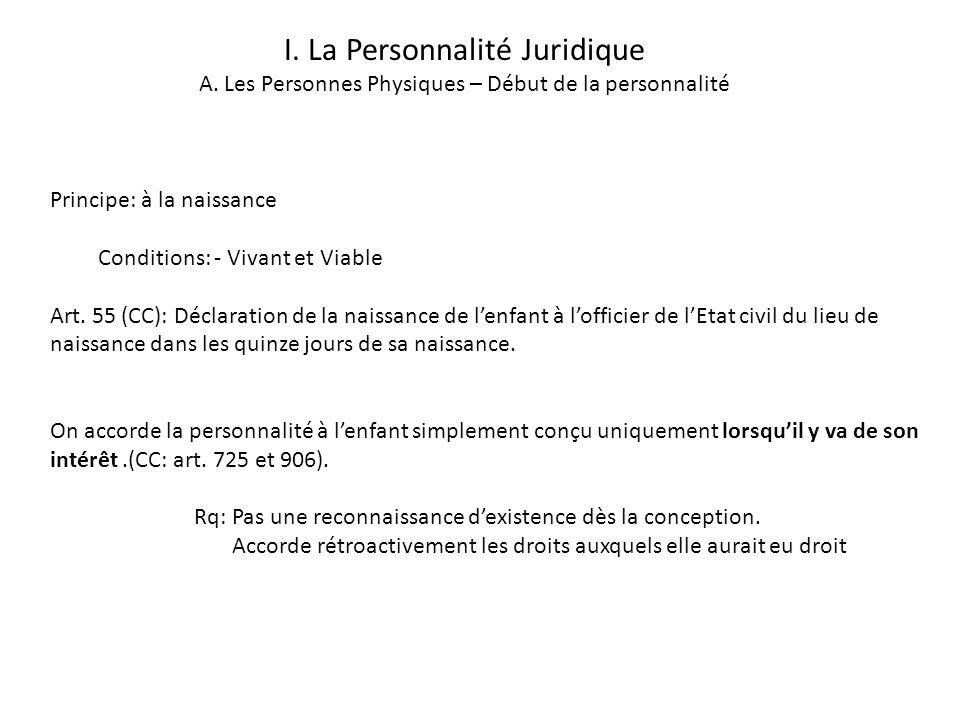 I.La Personnalité Juridique A.