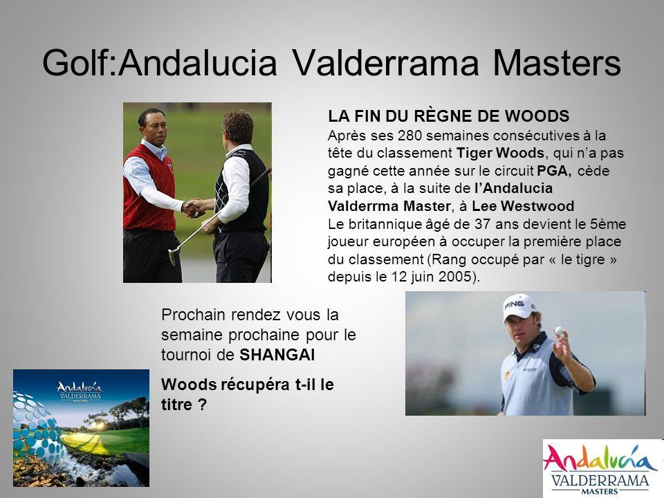 Golf:Andalucia Valderrama Masters LA FIN DU RÈGNE DE WOODS Après ses 280 semaines consécutives à la tête du classement Tiger Woods, qui na pas gagné cette année sur le circuit PGA, cède sa place, à la suite de lAndalucia Valderrma Master, à Lee Westwood Le britannique âgé de 37 ans devient le 5ème joueur européen à occuper la première place du classement (Rang occupé par « le tigre » depuis le 12 juin 2005).
