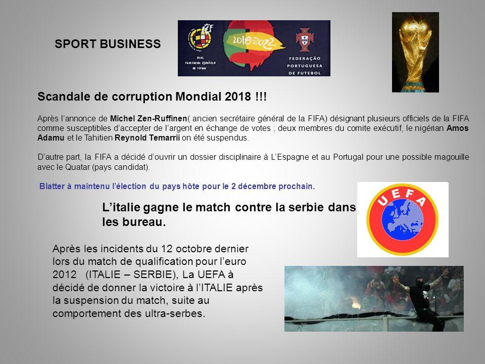 SPORT BUSINESS Après les incidents du 12 octobre dernier lors du match de qualification pour leuro 2012 (ITALIE – SERBIE), La UEFA à décidé de donner la victoire à lITALIE après la suspension du match, suite au comportement des ultra-serbes.