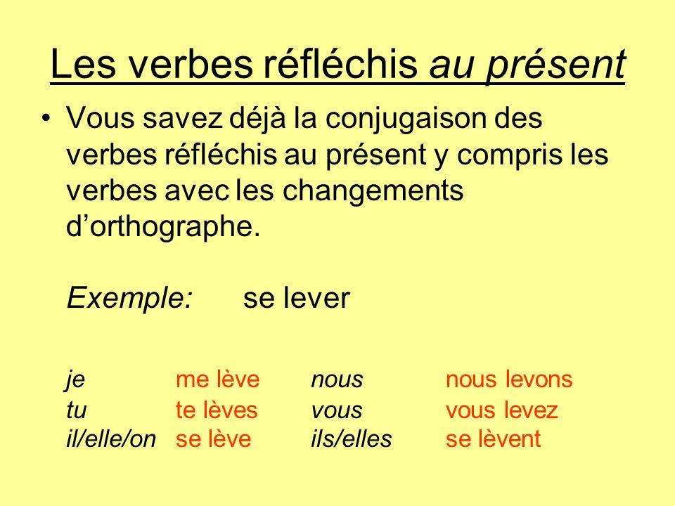 Les verbes réfléchis au présent Vous savez déjà la conjugaison des verbes réfléchis au présent y compris les verbes avec les changements dorthographe.