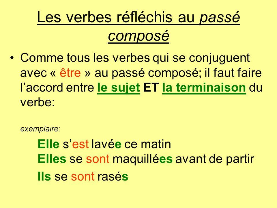 Les verbes réfléchis au passé composé Comme tous les verbes qui se conjuguent avec « être » au passé composé; il faut faire laccord entre le sujet ET