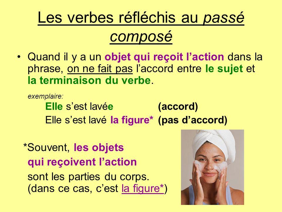 Les verbes réfléchis au passé composé Quand il y a un objet qui reçoit laction dans la phrase, on ne fait pas laccord entre le sujet et la terminaison