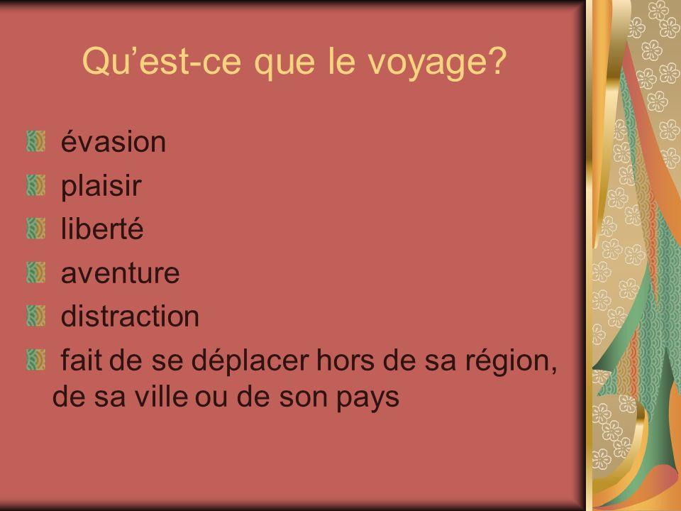 Quest-ce que le voyage? évasion plaisir liberté aventure distraction fait de se déplacer hors de sa région, de sa ville ou de son pays