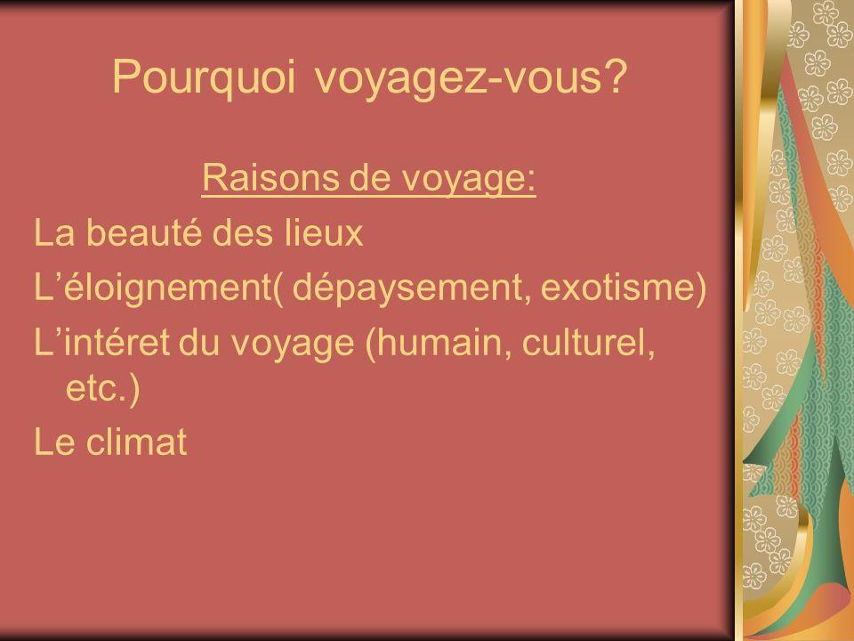 Pourquoi voyagez-vous? Raisons de voyage: La beauté des lieux Léloignement( dépaysement, exotisme) Lintéret du voyage (humain, culturel, etc.) Le clim