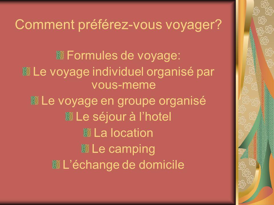 Comment préférez-vous voyager? Formules de voyage: Le voyage individuel organisé par vous-meme Le voyage en groupe organisé Le séjour à lhotel La loca