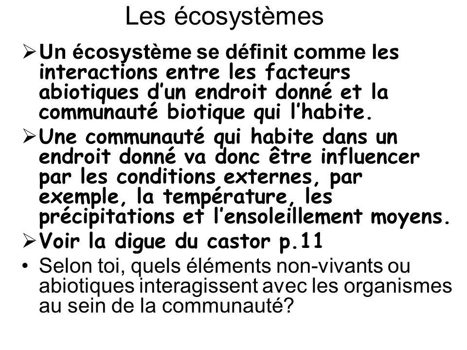 Un écosystème peut être minuscule ou immense, mais il doit comprendre tous les composants abiotiques et biotiques de lendroit.