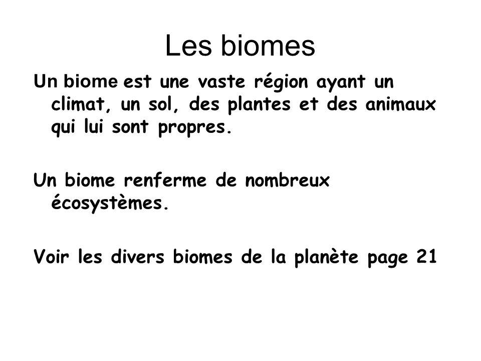 Les types de biomes au Canada: La toundra La forêt boréale La forêt tempérée La prairie ondulante La forêt tempérée humide Dans quel biome habitons-nous .