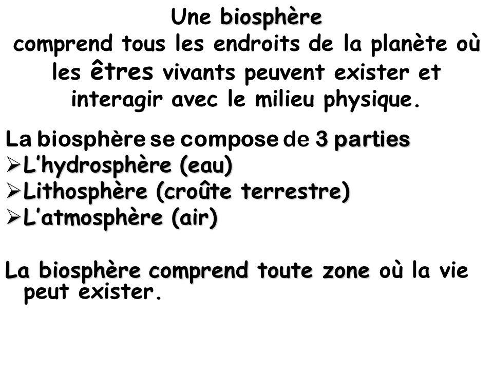 Une b bb biosphère comprend tous les endroits de la planète où les êtres vivants peuvent exister et interagir avec le milieu physique. 3 parties La bi