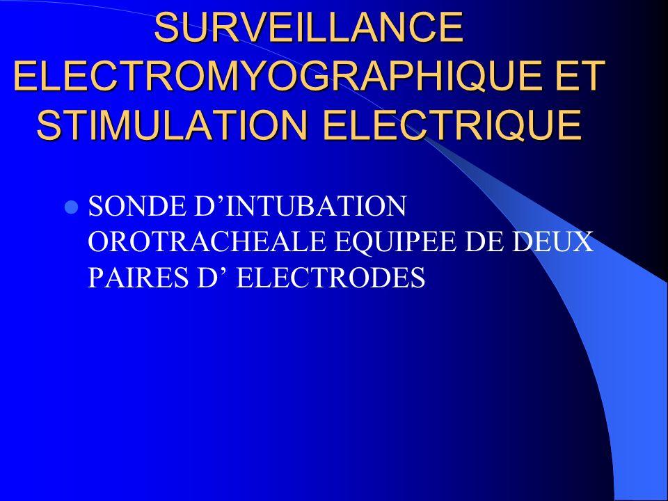 SURVEILLANCE ELECTROMYOGRAPHIQUE ET STIMULATION ELECTRIQUE SONDE DINTUBATION OROTRACHEALE EQUIPEE DE DEUX PAIRES D ELECTRODES