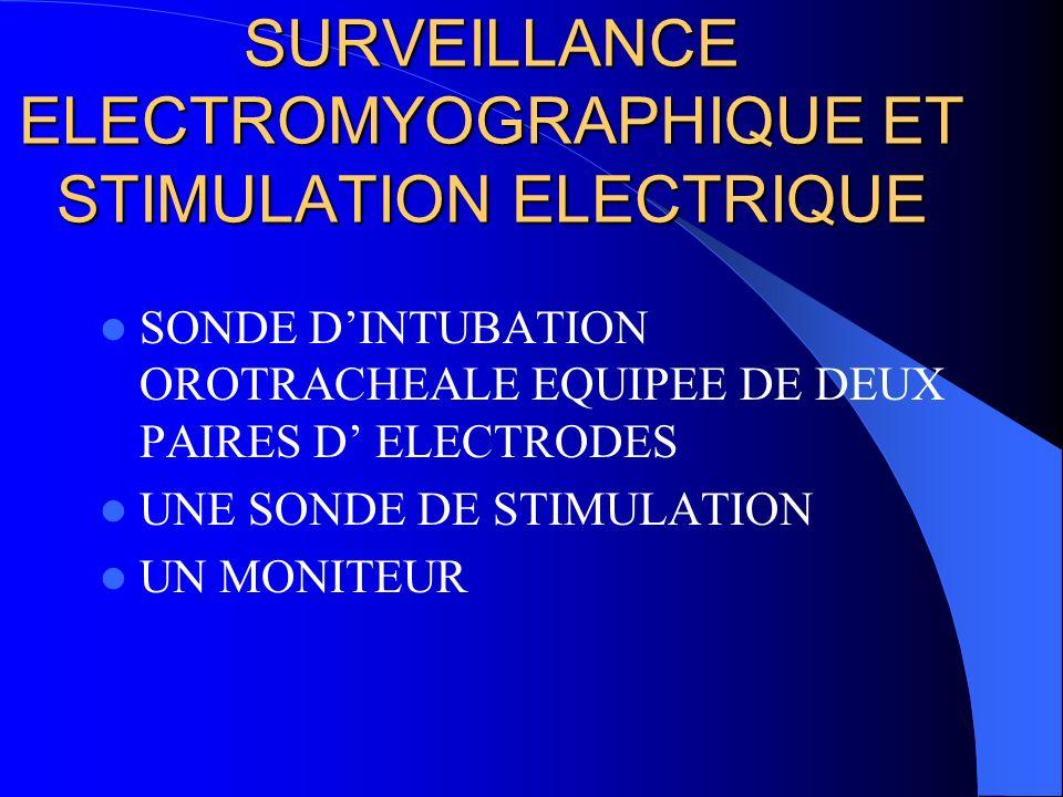 SURVEILLANCE ELECTROMYOGRAPHIQUE ET STIMULATION ELECTRIQUE SONDE DINTUBATION OROTRACHEALE EQUIPEE DE DEUX PAIRES D ELECTRODES UNE SONDE DE STIMULATION