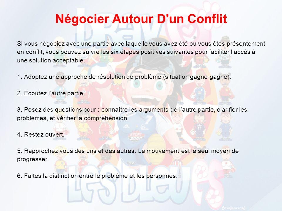 GESTION DE CONFLITS On peut distinguer 3 styles de conflits : 1 – Conflits dintérêts 2 – Conflits de besoins 3 – Conflits dopinions Et plusieurs style