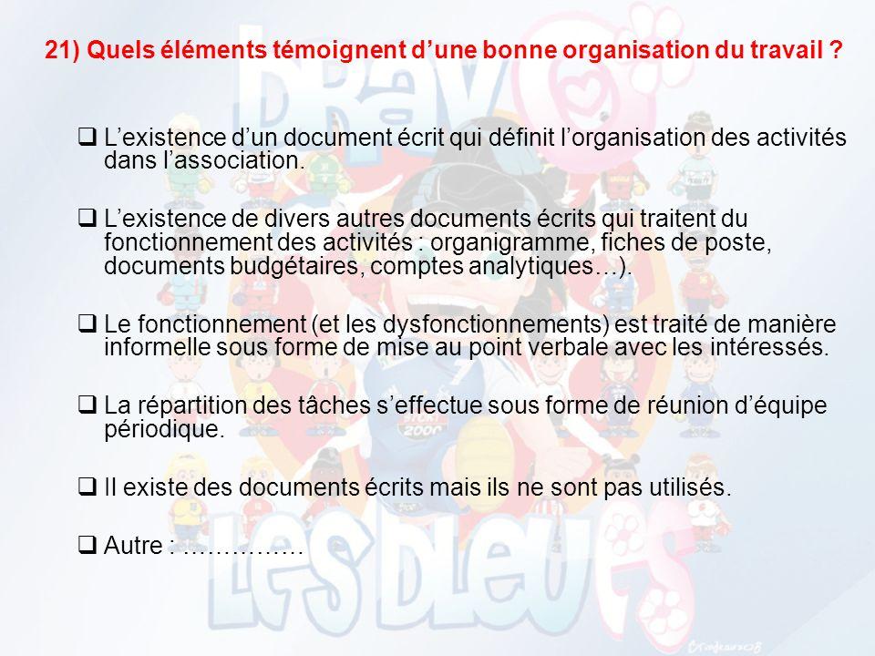 21) Quels éléments témoignent dune bonne organisation du travail .