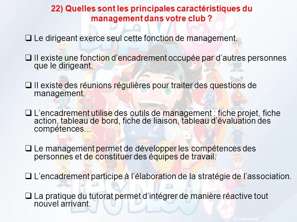 22) Quelles sont les principales caractéristiques du management dans votre club .