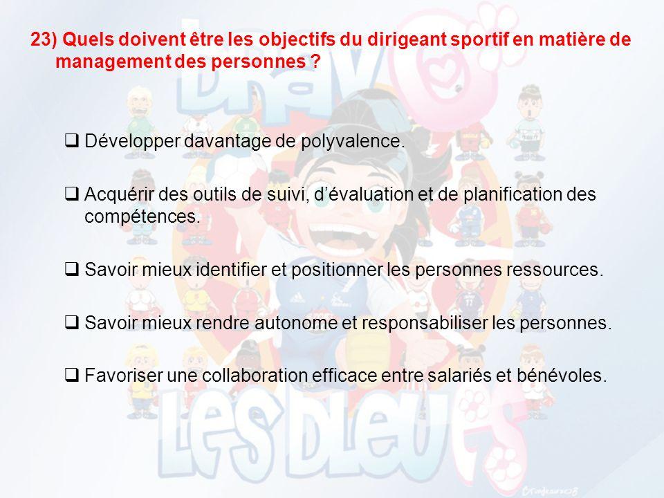 22) Quelles sont les principales caractéristiques du management dans votre club ? Le dirigeant exerce seul cette fonction de management. Il existe une