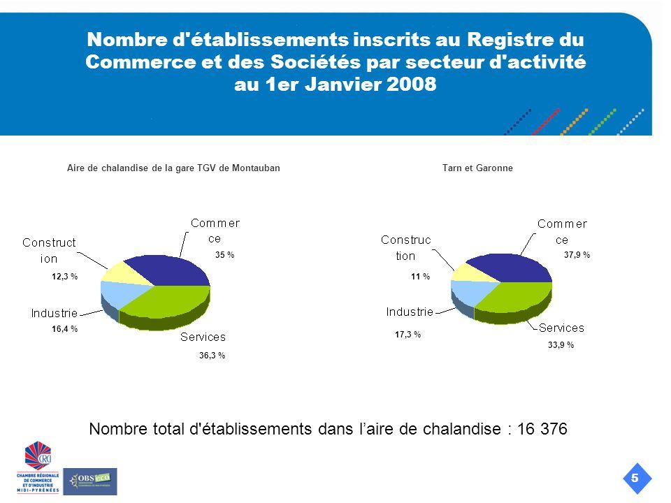 5 Nombre d établissements inscrits au Registre du Commerce et des Sociétés par secteur d activité au 1er Janvier 2008 Aire de chalandise de la gare TGV de MontaubanTarn et Garonne 12,3 % 16,4 % 35 % 36,3 % 11 % 33,9 % 37,9 % 17,3 % Nombre total d établissements dans laire de chalandise : 16 376