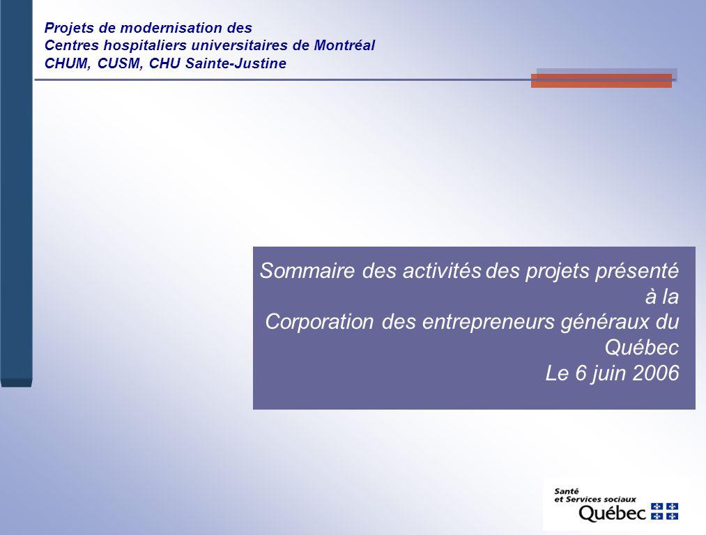 Sommaire des activités des projets présenté à la Corporation des entrepreneurs généraux du Québec Le 6 juin 2006 Projets de modernisation des Centres hospitaliers universitaires de Montréal CHUM, CUSM, CHU Sainte-Justine