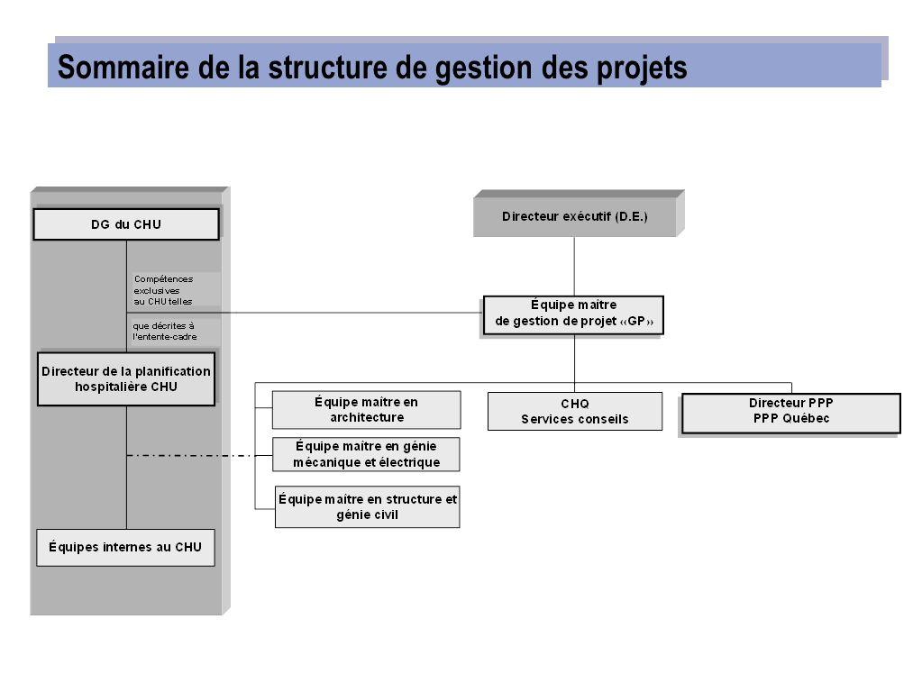 Sommaire de la structure de gestion des projets