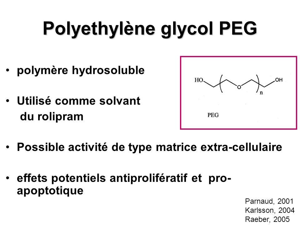 Polyethylène glycol PEG polymère hydrosoluble Utilisé comme solvant du rolipram Possible activité de type matrice extra-cellulaire effets potentiels a