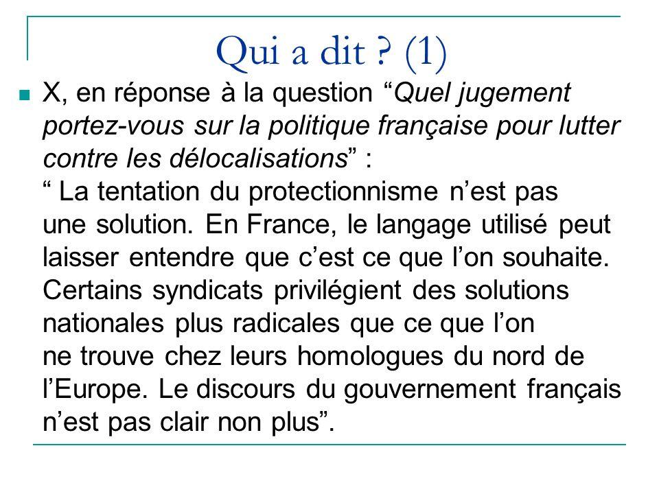 Qui a dit ? (1) X, en réponse à la question Quel jugement portez-vous sur la politique française pour lutter contre les délocalisations : La tentation
