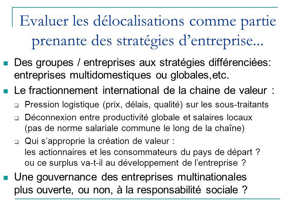 Evaluer les délocalisations comme partie prenante des stratégies dentreprise... Des groupes / entreprises aux stratégies différenciées: entreprises mu