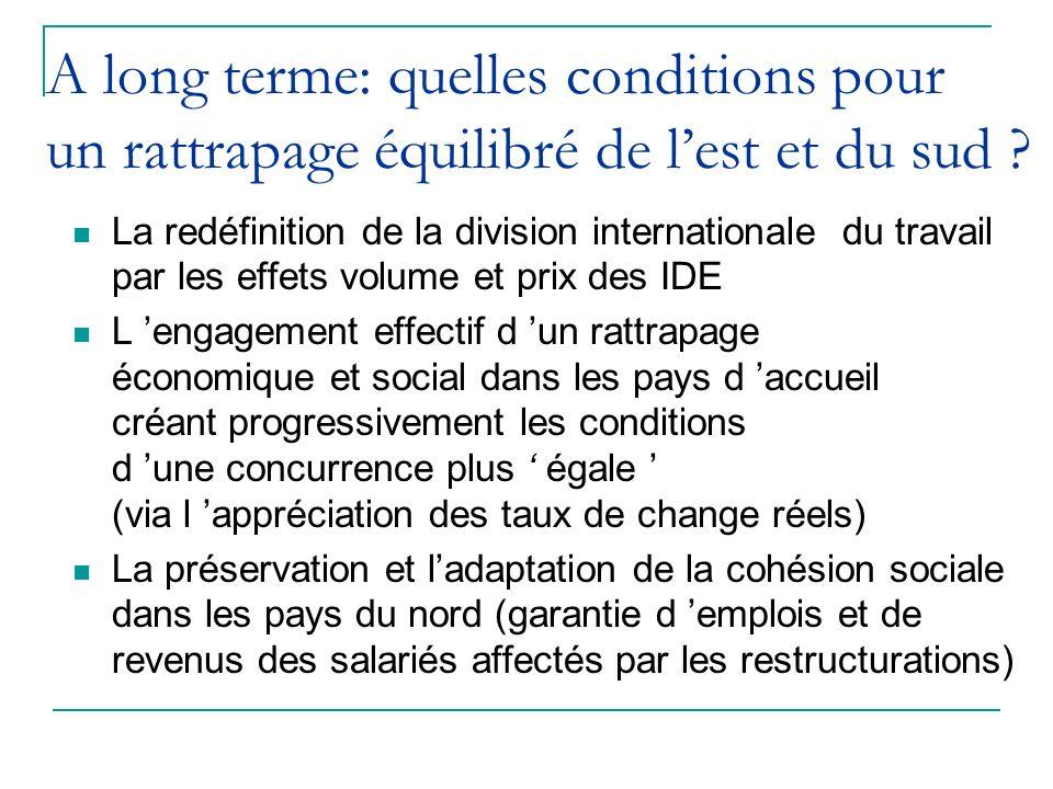 A long terme: quelles conditions pour un rattrapage équilibré de lest et du sud ? La redéfinition de la division internationale du travail par les eff