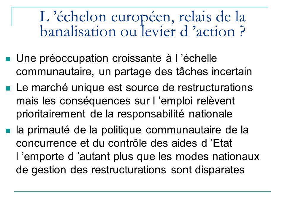 L échelon européen, relais de la banalisation ou levier d action ? Une préoccupation croissante à l échelle communautaire, un partage des tâches incer