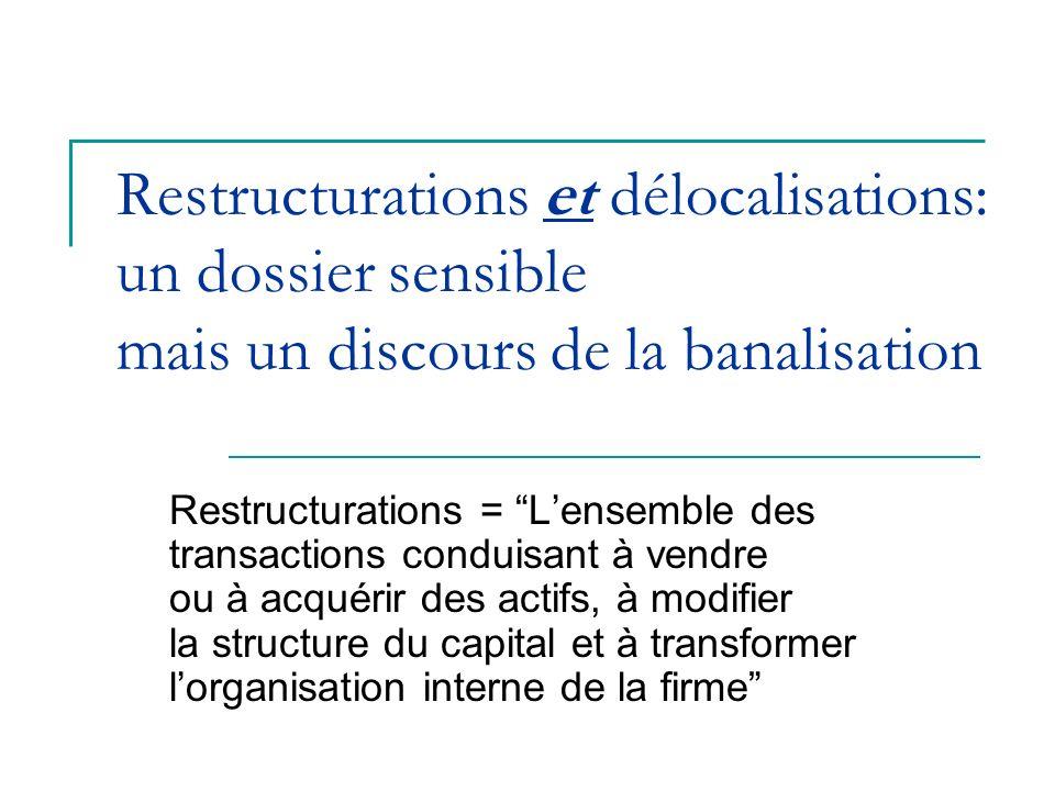 Restructurations et délocalisations: un dossier sensible mais un discours de la banalisation Restructurations = Lensemble des transactions conduisant