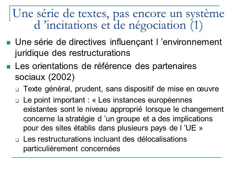 Une série de textes, pas encore un système d incitations et de négociation (1) Une série de directives influençant l environnement juridique des restructurations Les orientations de référence des partenaires sociaux (2002) Texte général, prudent, sans dispositif de mise en œuvre Le point important : « Les instances européennes existantes sont le niveau approprié lorsque le changement concerne la stratégie d un groupe et a des implications pour des sites établis dans plusieurs pays de l UE » Les restructurations incluant des délocalisations particulièrement concernées