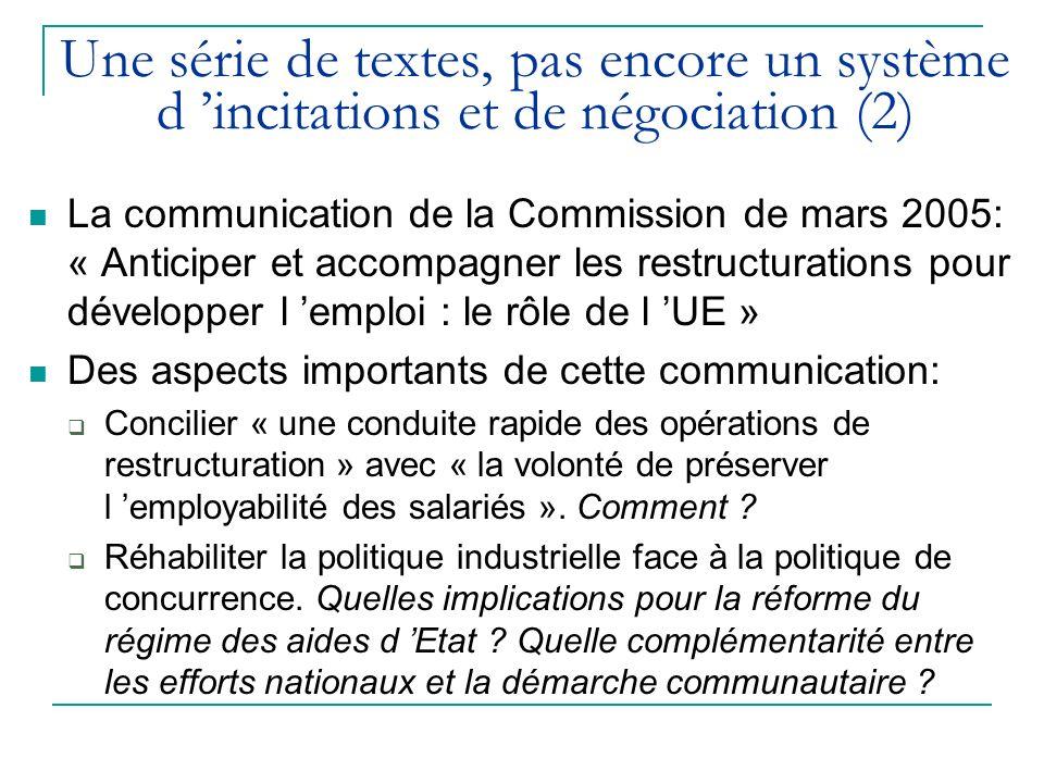 Une série de textes, pas encore un système d incitations et de négociation (2) La communication de la Commission de mars 2005: « Anticiper et accompag