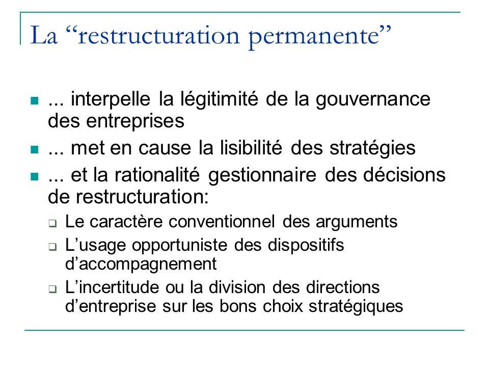 La restructuration permanente... interpelle la légitimité de la gouvernance des entreprises... met en cause la lisibilité des stratégies... et la rati