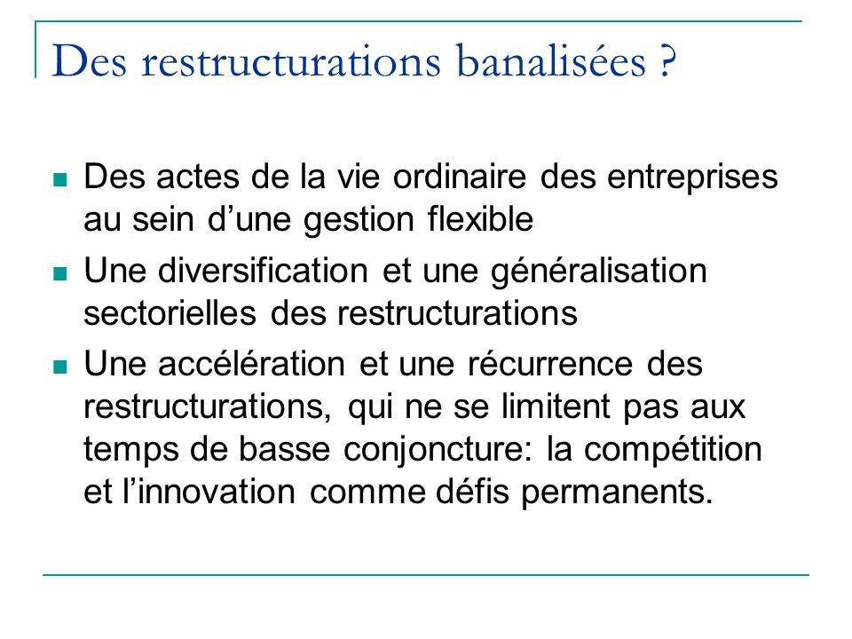 Des restructurations banalisées ? Des actes de la vie ordinaire des entreprises au sein dune gestion flexible Une diversification et une généralisatio