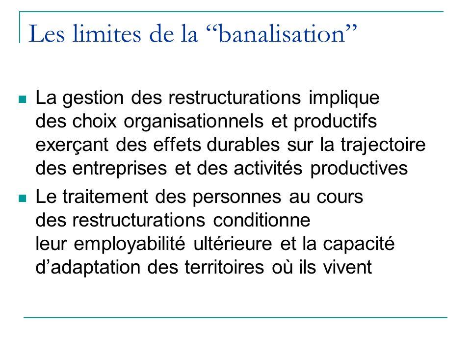 Les limites de la banalisation La gestion des restructurations implique des choix organisationnels et productifs exerçant des effets durables sur la t