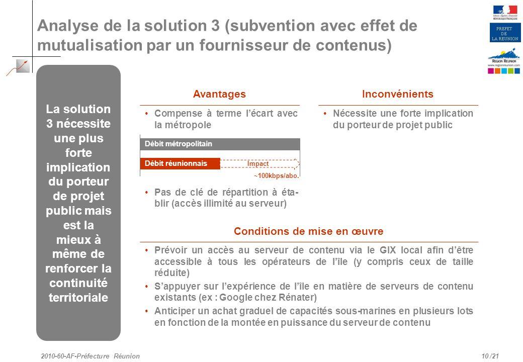 /21 Analyse de la solution 3 (subvention avec effet de mutualisation par un fournisseur de contenus) 10 2010-60-AF-Préfecture Réunion La solution 3 né