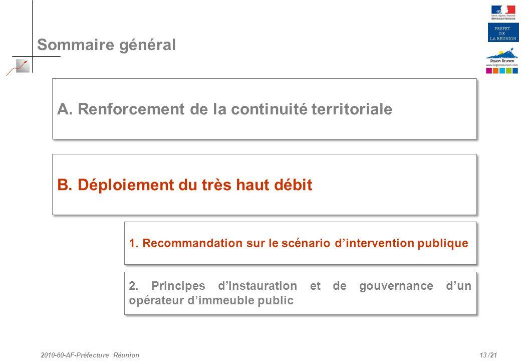/21 Sommaire général 13 A. Renforcement de la continuité territoriale B. Déploiement du très haut débit 2010-60-AF-Préfecture Réunion 2. Principes din