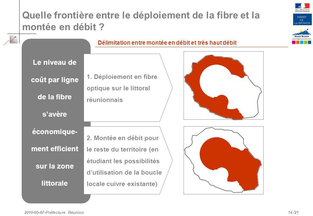 /21 Quelle frontière entre le déploiement de la fibre et la montée en débit ? 14 2010-60-AF-Préfecture Réunion Le niveau de coût par ligne de la fibre