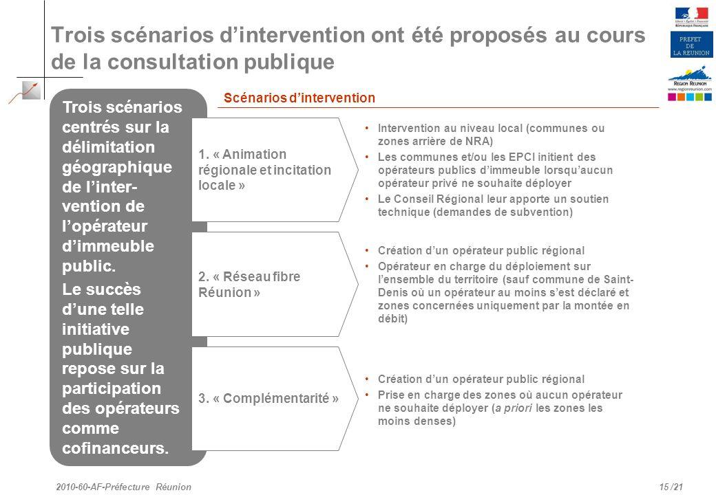 /21 Trois scénarios dintervention ont été proposés au cours de la consultation publique 15 2010-60-AF-Préfecture Réunion Trois scénarios centrés sur l
