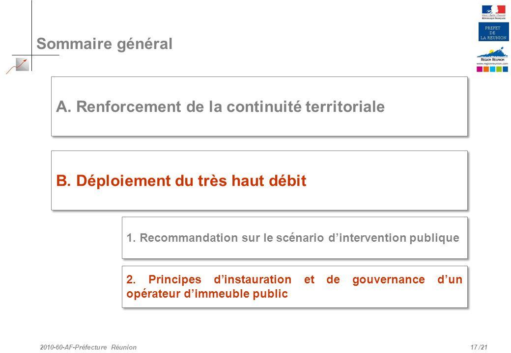 /21 Sommaire général 17 A. Renforcement de la continuité territoriale B. Déploiement du très haut débit 2010-60-AF-Préfecture Réunion 2. Principes din