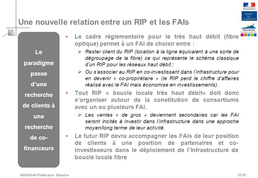 /21 Une nouvelle relation entre un RIP et les FAIs Le cadre réglementaire pour le très haut débit (fibre optique) permet à un FAI de choisir entre : R