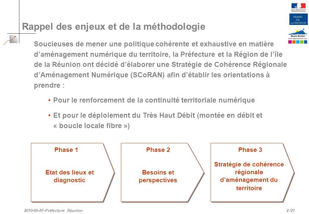 /21 Rappel des enjeux et de la méthodologie Soucieuses de mener une politique cohérente et exhaustive en matière daménagement numérique du territoire,