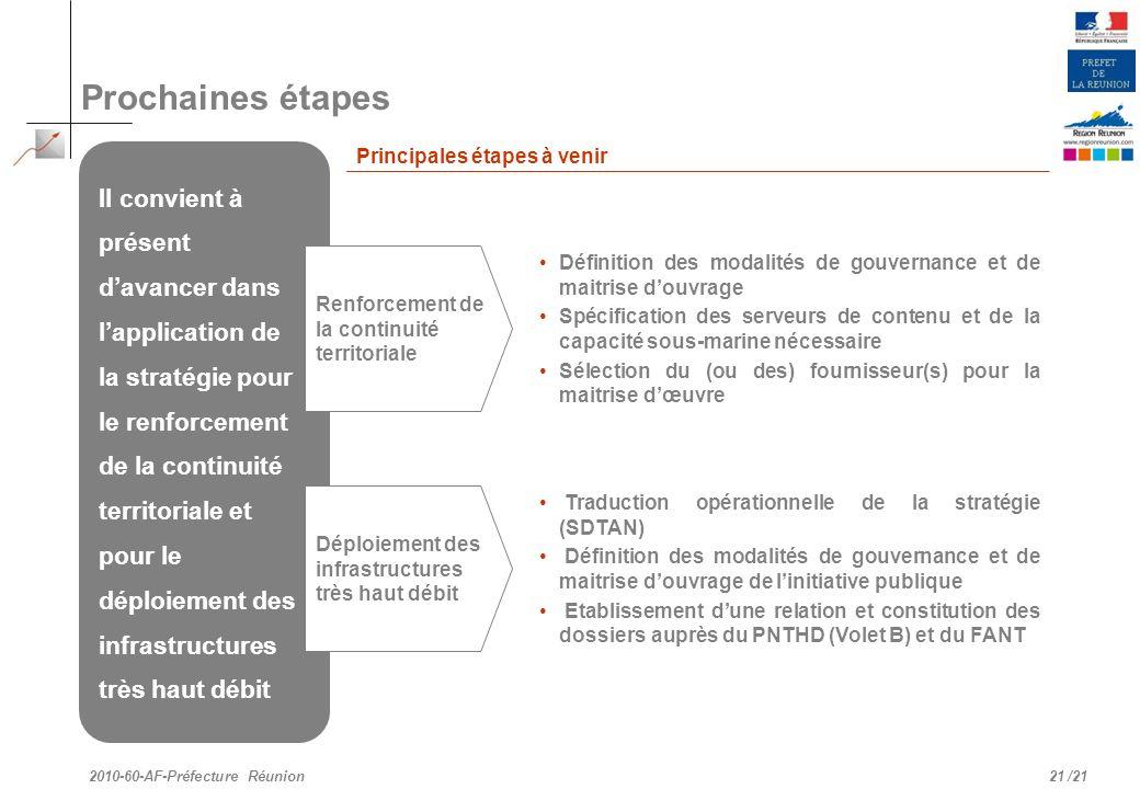 /21 Prochaines étapes 21 2010-60-AF-Préfecture Réunion Il convient à présent davancer dans lapplication de la stratégie pour le renforcement de la con