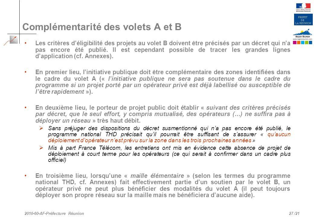 /21 Complémentarité des volets A et B Les critères déligibilité des projets au volet B doivent être précisés par un décret qui na pas encore été publi