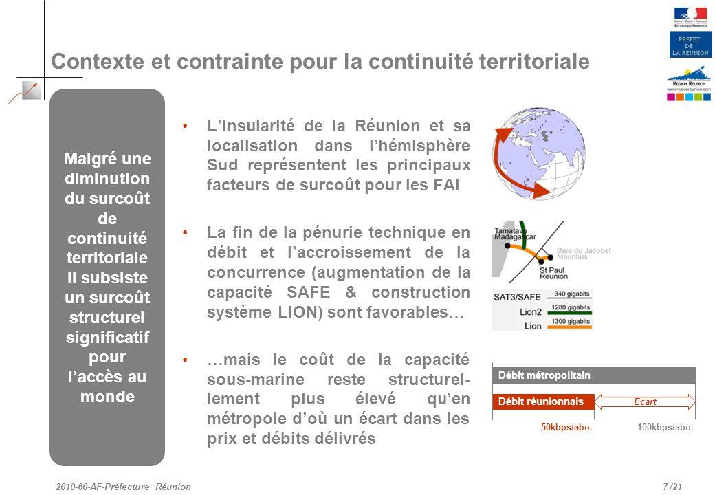 /21 Linsularité de la Réunion et sa localisation dans lhémisphère Sud représentent les principaux facteurs de surcoût pour les FAI La fin de la pénuri