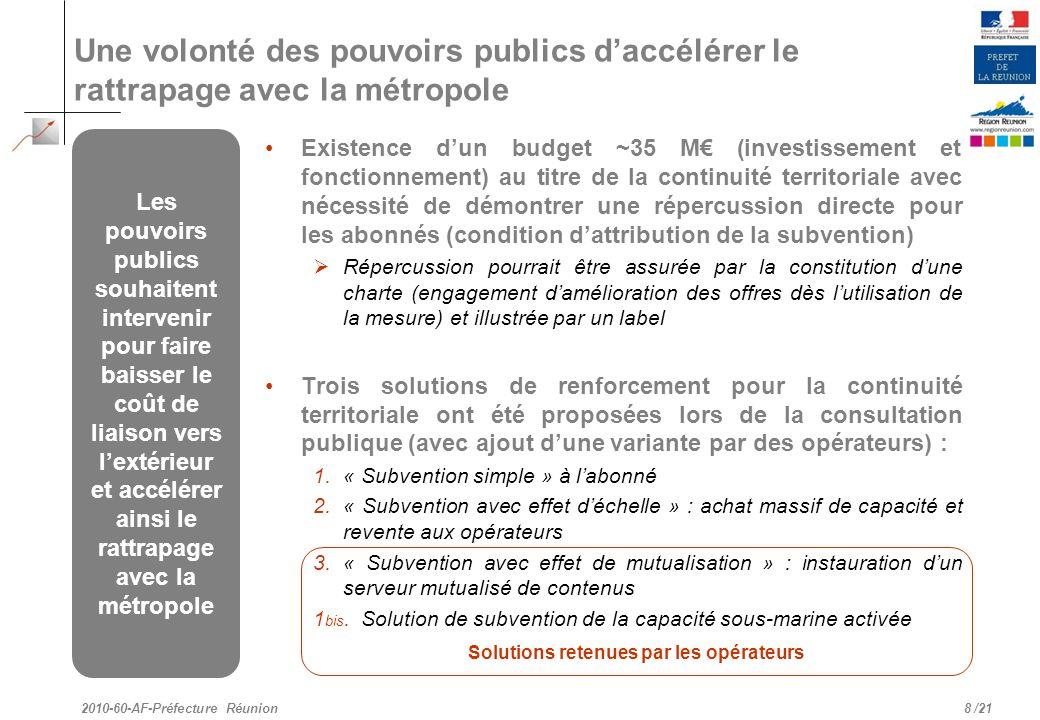 /21 Une volonté des pouvoirs publics daccélérer le rattrapage avec la métropole Existence dun budget ~35 M (investissement et fonctionnement) au titre