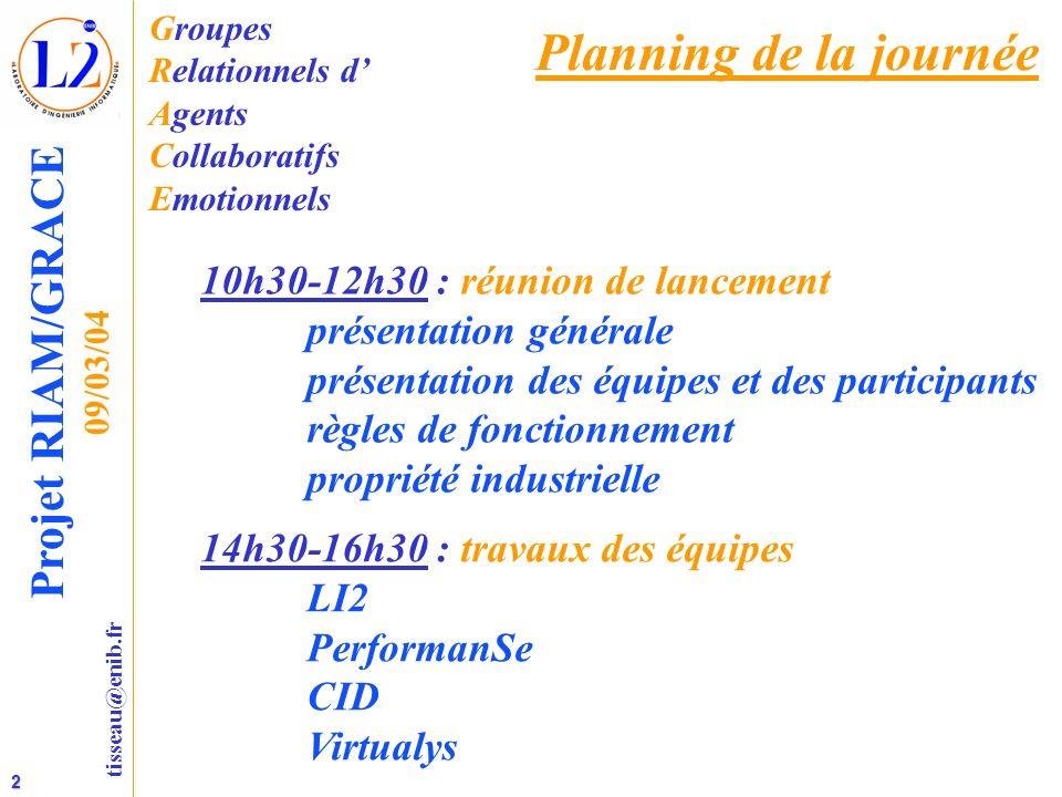2 tisseau@enib.fr Projet RIAM/GRACE 09/03/04 Planning de la journée 10h30-12h30 : réunion de lancement présentation générale présentation des équipes