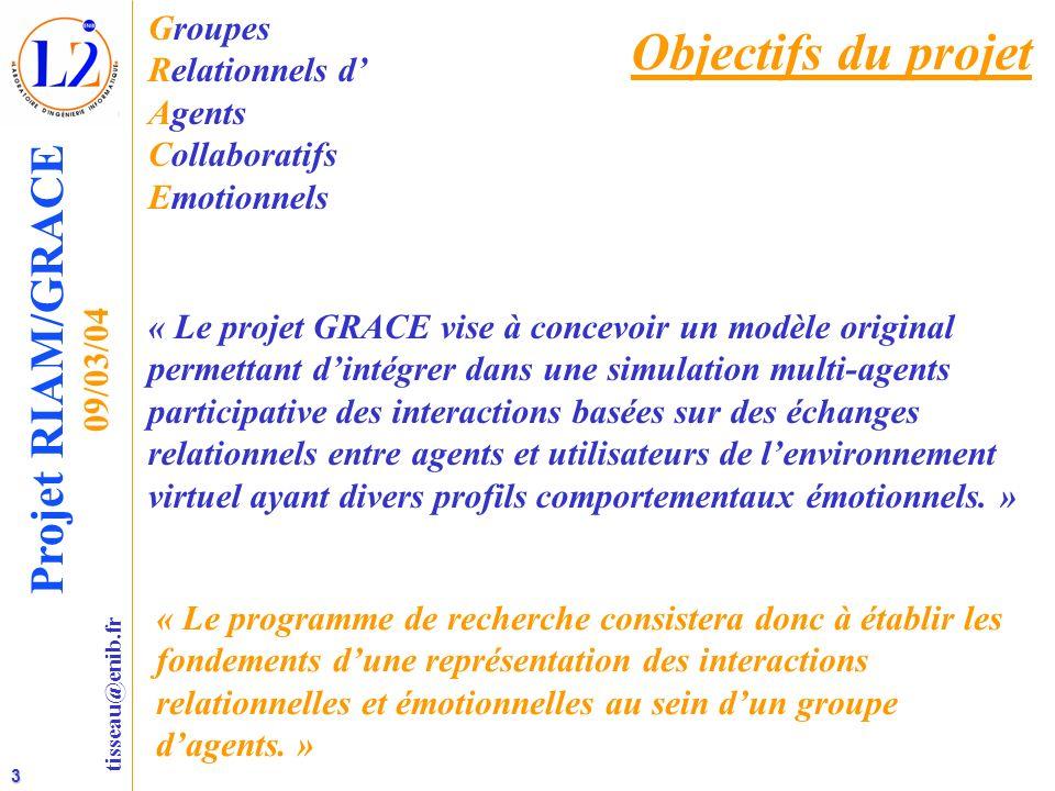 3 tisseau@enib.fr Projet RIAM/GRACE 09/03/04 Objectifs du projet Groupes Relationnels d Agents Collaboratifs Emotionnels « Le projet GRACE vise à conc