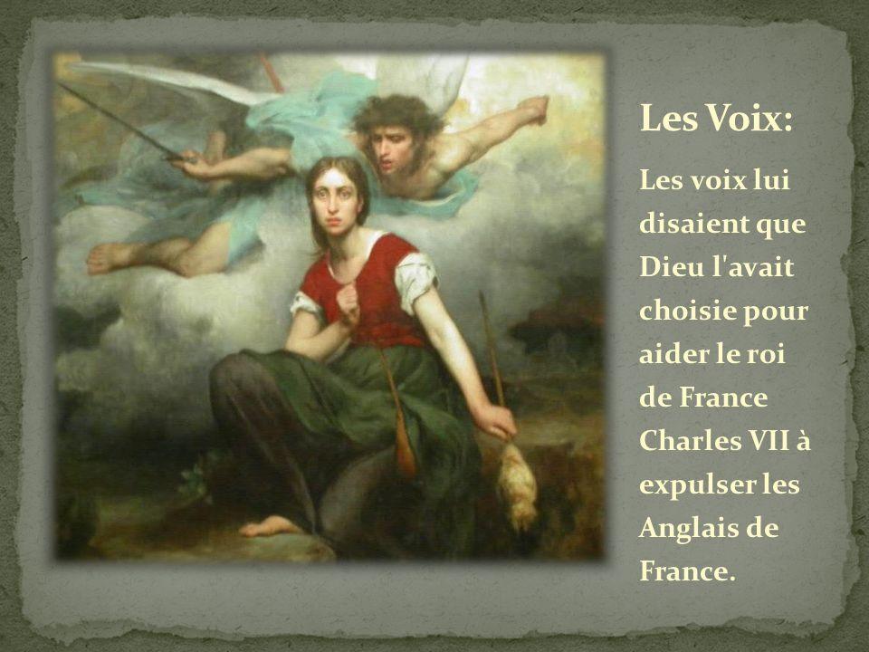 Les voix lui disaient que Dieu l'avait choisie pour aider le roi de France Charles VII à expulser les Anglais de France.