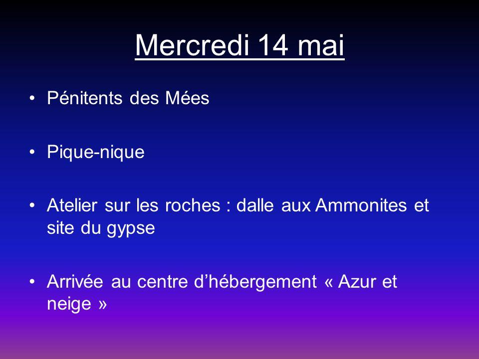 Mercredi 14 mai Pénitents des Mées Pique-nique Atelier sur les roches : dalle aux Ammonites et site du gypse Arrivée au centre dhébergement « Azur et