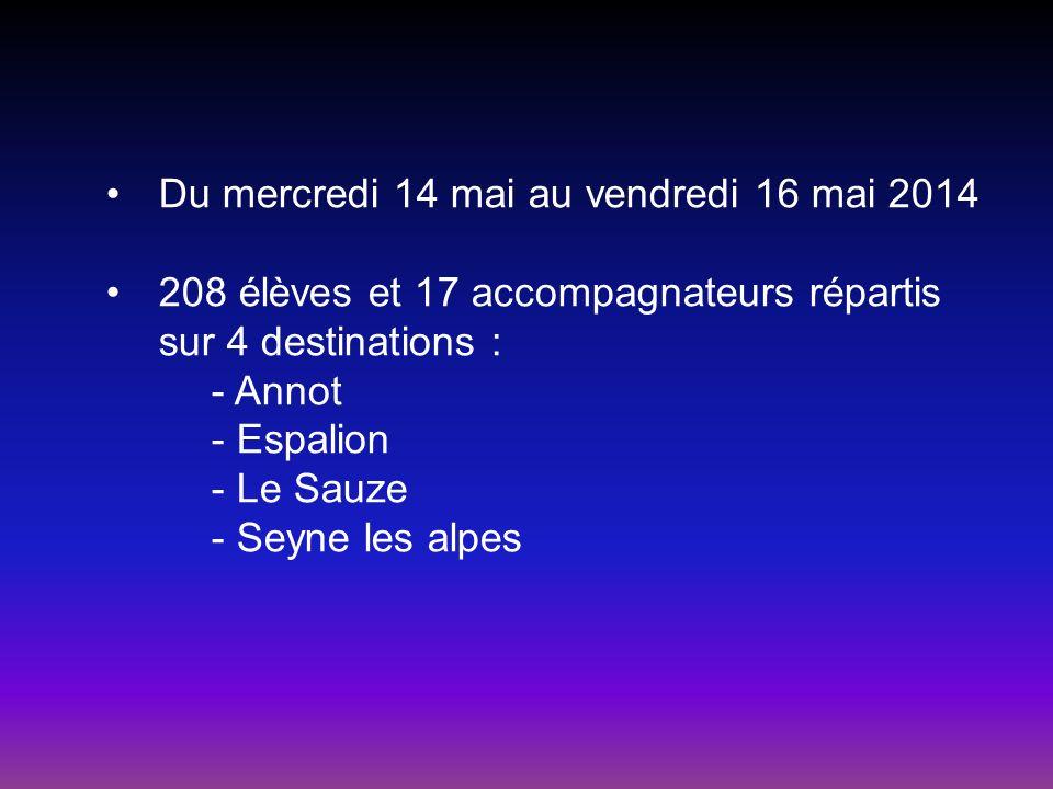 Du mercredi 14 mai au vendredi 16 mai 2014 208 élèves et 17 accompagnateurs répartis sur 4 destinations : - Annot - Espalion - Le Sauze - Seyne les al