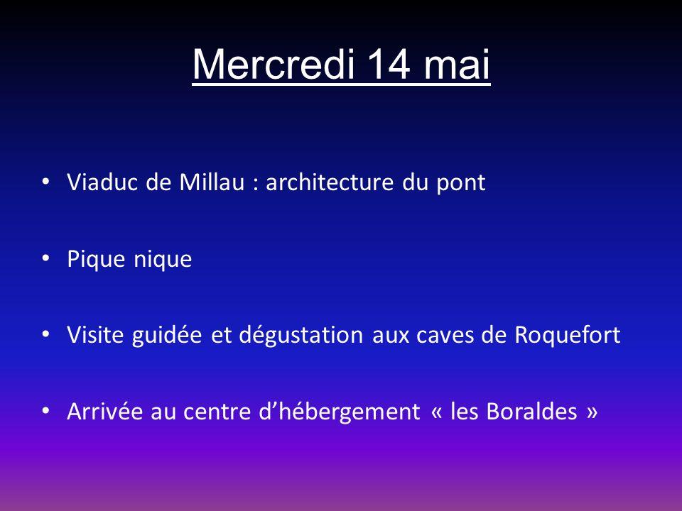Mercredi 14 mai Viaduc de Millau : architecture du pont Pique nique Visite guidée et dégustation aux caves de Roquefort Arrivée au centre dhébergement