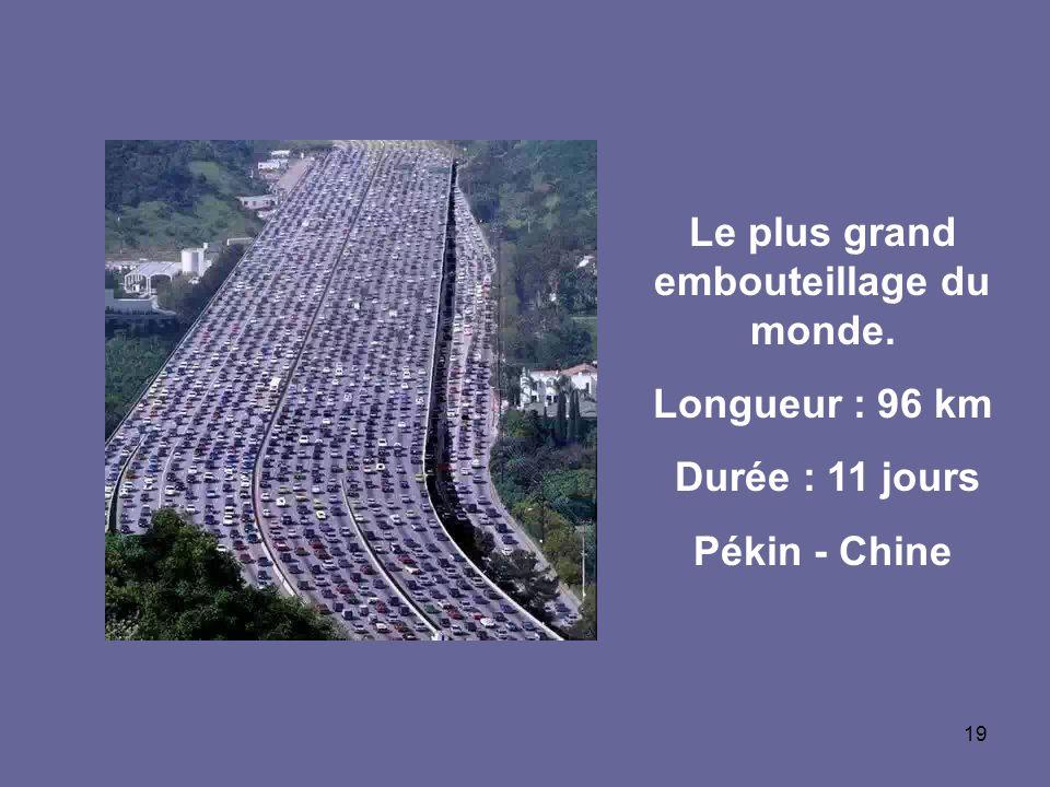 19 Le plus grand embouteillage du monde. Longueur : 96 km Durée : 11 jours Pékin - Chine